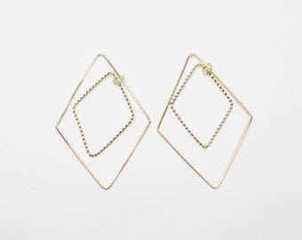 P0689-1/Anti-Tarnished Gold Plating over Brass/Dangle Rhombus Pendant Connector/22.5x34mm/4pcs