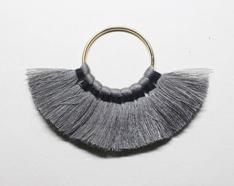 T0024/Gold plated over brass/9 Tassels on Brass Ring Pendant/25mm tassels,35mm ring/2pcs