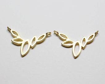 P0353-1/Anti-Tarnished  Matt Gold Plating over Brass/Five Leaves Pendant Small/19X12.5mm/2pcs