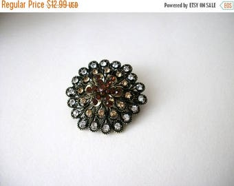 ON SALE Vintage Antiqued Gold Over Sized Cluster Rhinestones Pin 51117