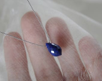 Lapis Lazuli Briolette Silk necklace minimalist Necklace natural beauty Lapis Lazuli Briolett Silk Necklace minimalist natural beauty
