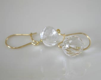 Solid Gold Earrings quartz 8 carat quartz crystal 333 gold wires Earrings