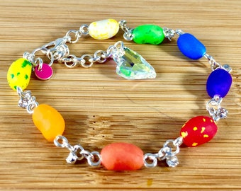 Small size jelly beans on 7 inch bracelet