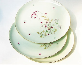 Three Original Eschenbach Bavaria Germany Baronet China Clarice Salad Plates - Vintage Porcelain Plate w/ Pink Flowers Gray Floral Design 8""