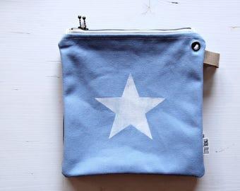 Canvas Zipper Pouch STARS Travel Clutch Summer Small Bag Screen Printed