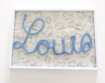 Frame Louis dinosaurs > customize according to the word or name in knitting and your fabric of your choice
