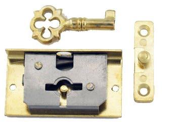 Depth Brass Small Box Lock - Recess Lock - Antique Style Lock and Key