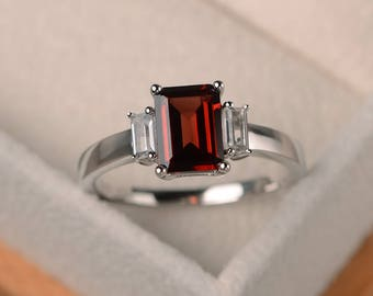 Natural garnet ring, promise ring, emerald cut red gemstone, sterling silver ring, January birthstone