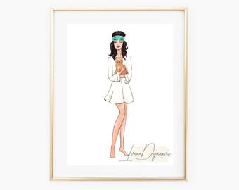 Audrey Hepburn Breakfast at Tiffany's Fashion Sketch,Holly Golightly Wall Art Print,Vintage Movie Gift For Her,Audrey Hepburn Print