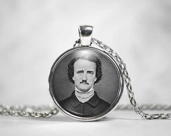 Edgar Allan Poe, 25mm Silver Pendant, Literary Gifts, Poetry Pendant, Quote the Raven, Nevermore, Steampunk Pendant, Gothic Pendant