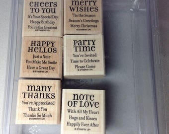 "Retired Stampin' Up! Greeting Stamp Set ""Lots of Thoughts"" (6)"