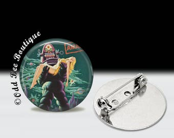 Forbidden Planet Pin - Robby the Robot Brooch - Damsel in Distress Button - Classic Movie Monsters Accessory Gift - Robot, Futuristic Pin