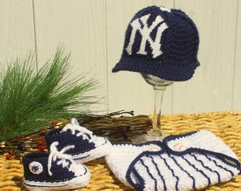 Baby BASEBALL hat and shoes, Newborn baseball hat, New York YANKEES inspired  (Handmade by me and not affiliated with the MLB)