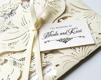 VINTAGE wedding invitation , wedding invite , RSVP card , guest information card, wedding invitation suite , wedding stationery , invitation