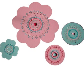Wall decoration for child flower of BOMBAY set of 4