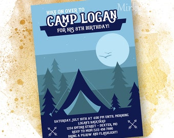 Camp Birthday Party Invitation    Camp-out Party Invite    5x7 Blue Backyard Camp Personalized Invitation
