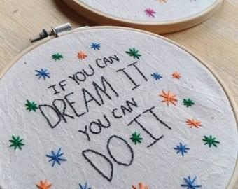 Disney hand embroidery hoop art Custom Colors available