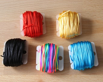 Shiny Synthetic Thread/Cord on Reusable Bobbin 1mm x 10m - Five Colours to Choose