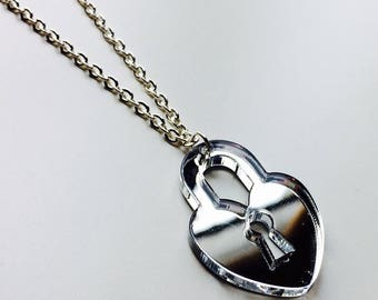 Lock | Heart | Alice And Wonderland | Padlock | Pretty | Mirror | Laser Cut | Acrylic | Necklace