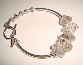 All Sterling Silver Tube Beads and Herkimer Diamonds Beaded Bracelet