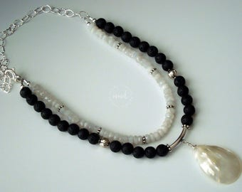 Double Strand Lava Stone and Rainbow Moonstone with Mother of Pearl Wire Wrapped Pendant Necklace