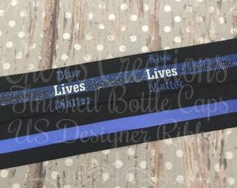 "7/8"" Blue Lives Matter - All Lives Matter - Police Support - U.S. DESIGNER - High Quality Grosgrain Ribbon - By The Yard"