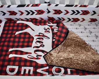So Deerly Loved Crib Bedding, Lumberjack bedding, woodland nursery, red buffalo plaid, red and black , quilt, bumpers, deer, skirt