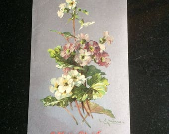 """Catherine Klein Postcard, Artist Signed, A Merry Christmas, 5.5"""" x 3.5"""", Writing on Reverse, Good Condition Stamped London 1907"""