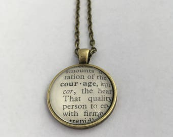 COURAGE Vintage Dictionary Word Pendant