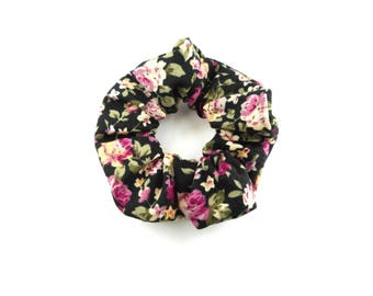 Scrunchie, scrunchies, tie hair, black floral