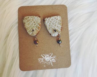 Lacey ceramic studs with gems