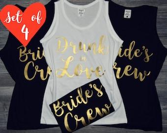 4 Bridesmaid Shirts | Bridesmaid Shirts (4) | Bridesmaid Shirts Set of 4 | 100% Custom | 50+ Wording Options | 30+ Fonts | Black White