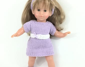 Set: Doll dress - dress for doll - purple and white