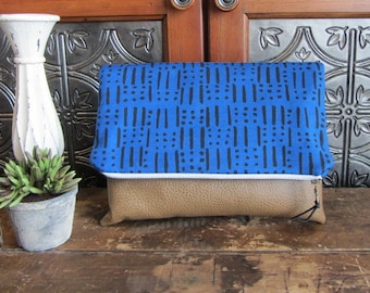 Large Fold Over Clutch Bag - Blue Lines and Dots with Tan Vegan Leather Bottom, Foldover Zipper Clutch, Navy Clutch Bag