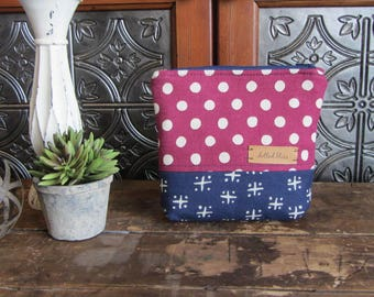 Medium Gusset Make Up Bag, Burgundy Dots and Navy Cross, Zipper Pouch, Travel Bag, Purse Size Make Up Bag, Zipper Storage Bag