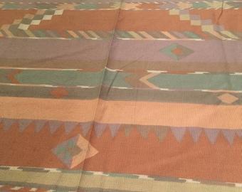 Vintage 1980s - 1990s Queen Flat Top Sheet Bedding Aztec Navajo Southwestern