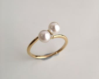 4-4.5mm Akoya Pearl Engagement Ring Double Pearl Ring Yellow Gold Ring Diamond Engagement Ring