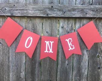One banner. High chair banner. Red cake smash banner. Red and white One banner.