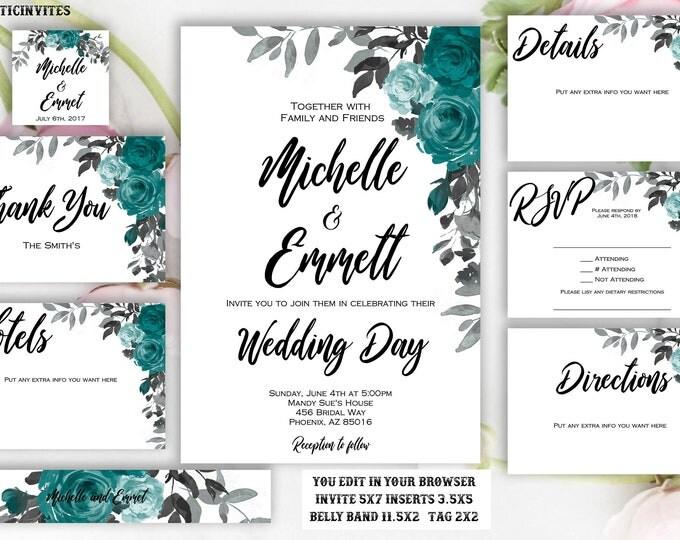 Teal Grey Floral Wedding Invitation Template, Printable, Template, Instant Download, DIY Wedding, Wedding Template, Boho, Script, Editable