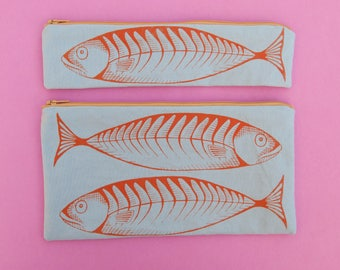 Mackerel fish bag Screen printed Handmade