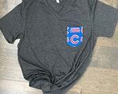 Baseball Tshirt with Chicago Cubs Pocket, Tank Top, Racerback