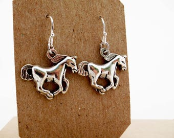 Silver Horse Earrings, Country Girl at Heart, Horseshoe Jewelry, Equestrian, Horse Jewelry, Gift for Horse Lover, Choice of Hooks