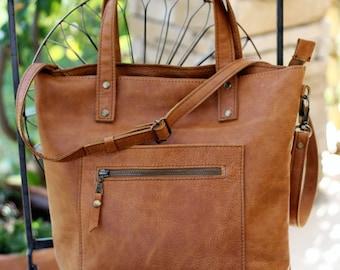 Tote bag,italian leather handbag,leather tote,brown tote,shoulder bag,shopper bag,market bag,crossbody bag,tote with zipper,messenger bag T1