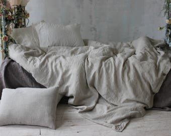 StoneWashed Duvet Cover Set Softened Duvet Cover and 2 Stonewahsed linen pillowcases. Organic 100% Flax Twin XL Queen Full King CalKing