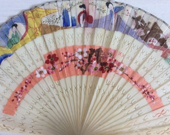 20s Vintage Fan - Cherry Blossom - Silk Fan - Hand Painted - Oriental Fan - Vintage Accessories - Antique Fan - Gift for Her