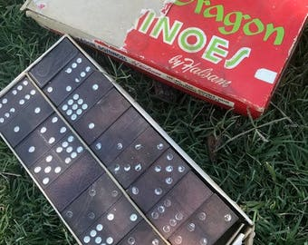 Vintage Dragon Dominoes, Double Nine, Halsam, Domino, Playtime, Table Games, Gift