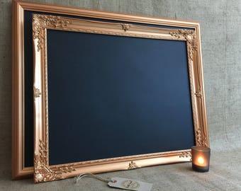 COPPER FRAMED CHALKBOARD - Copper Ornate Framed Chalkboard | Copper Framed Message Board | Copper Memo Board | Copper Wedding Decor