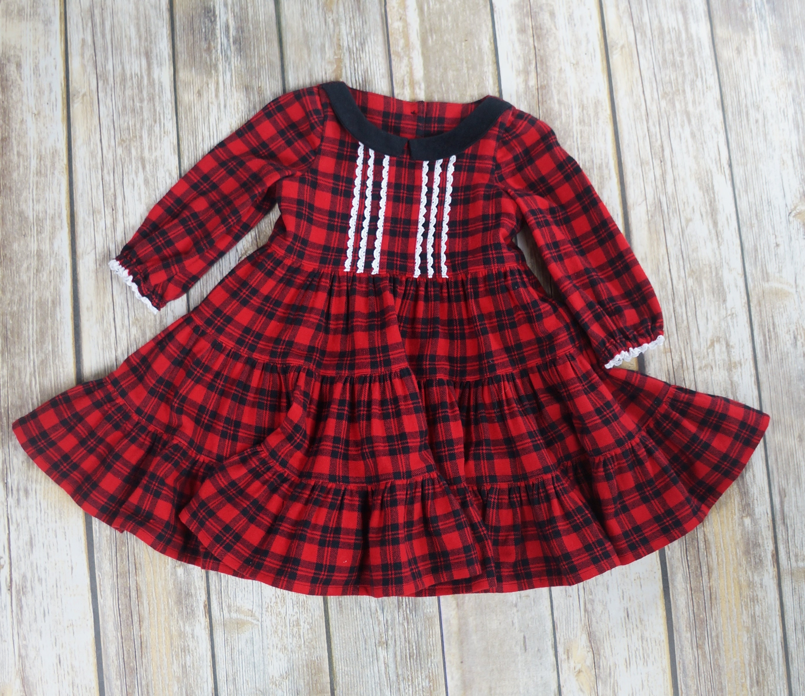 Toddler Dress Red Plaid Flannel Size 2 Christmas Dress Thanksgiving