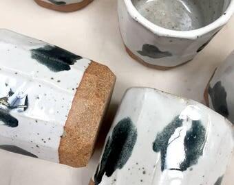 set of 5 // black dot cups // handmade // ceramic tumbler