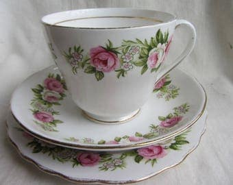 Vintage Colclough bone china tea set for one. Trio large tea cup saucer plate gold decor and pink roses Tea party, wedding, afternoon tea